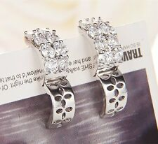 1 Pair White Gold Filled Cubic Zirconia Womens Ear Hoop Earrings Fashion New