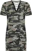 Plus Womens Choker Tie V Neck Top Ladies Camouflage Print Short Sleeve T-Shirt