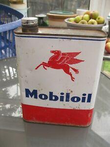 SUPER VINTAGE MOBILOIL FRENCH 2 LITRES MOTOR OIL CAN