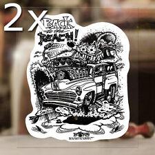 2x Stück Back to the beach Sticker Ed Roth Autocollante Rat Fink Aufkleber