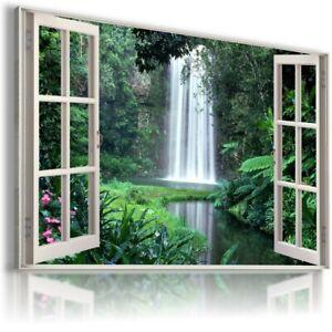 WATERFALL CASCADE PARADISE 3D Window View Canvas Wall Art Picture  W109 MATAGA