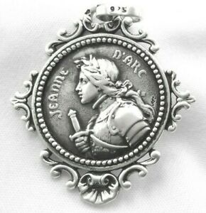 Médaille Jeanne d'Arc Medal Antique French Argent Massif 925 Sterling Silver