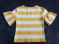 M&S Collection Women Blouse Top Daffodil Yellow Mustard Stripe Bell Sleeve UK 8