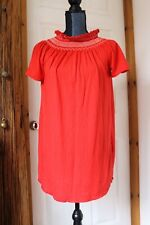 Long Loose Boho Embroidery T Shirt Top Poppy Red BRAND NEW UK 8/10