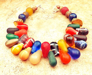 Aimee Fuller Mali Wedding Bead Africa Trade Rainbow Glass Lapis Necklace Antique
