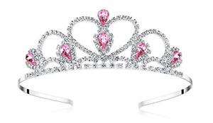 Lovelyshop Pink Gems Rhinestone Tiara, for Little Kid Big Kid Girl Prom Birthday