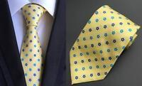Tie Yellow and Blue Flower Patterned Handmade 100% Silk Wedding 8cm Width