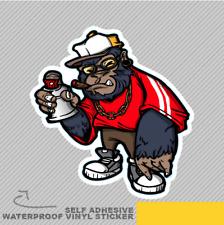 COOL Gorilla GRAFFITI SPRAY Cartoon Adesivo Vinile Decalcomania Finestra Auto Van Bici 2462