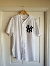 Vintage White Majestic MLB New York Yankees Button Down Baseball Jersey XL