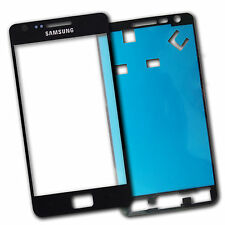 Lens Screen Outer glass  for Samsung Galaxy S2 SII i9100 Black + Adhesive