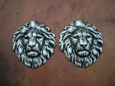 Head Stampings (2) - Sosg7857 Oxidized Silver Plated Brass Lion