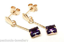 9ct Gold Square Amethyst Drop Earrings Gift Boxed Made in UK