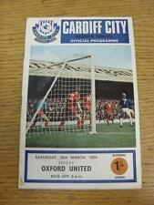28/03/1970 Cardiff City v Oxford United  (Adhesive Marks On Back). Item in very
