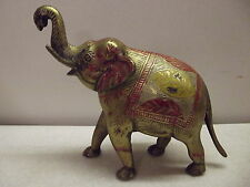VINTAGE PAINTED BRASS ELEPHANT FIGURINE FIGURE