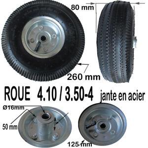 ROUE  4.10 / 3.50-4   jante acier Ø 260 mm 410/350/4 pneu chambre chariot diable
