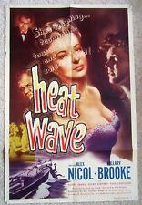 HEAT WAVE ORIGINAL 1954 1SHT MOVIE POSTER FLD HILLARY BROOKE ENG HAMMER VG
