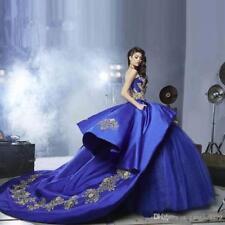 neue blaue zug quinceanera schönheitswettbewerb ballkleid hochzeitskleid vom par