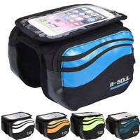 MTB Cycling Bicycle Front Frame Pannier Outdoor Bike Tube Mobile Phone Bag Pouch
