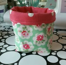 Handmade Cath Kidston Fabric bits&bobs Storage Basket - Green Provence Rose XMAS