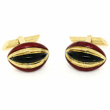 Vintage Men's 18k Yellow Gold Lozenge Shaped Fine Red & Black Enamel Cuff Links