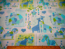 Baby Fabric By The Yard Patchwork Animals Blue Turquoise Green Quilting Cotton