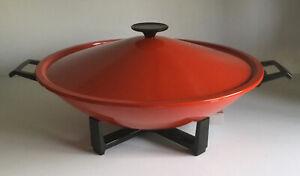 "Vintage West Bend Wok Red Sensa Temp Non Stick Immersible ELECTRIC Stir Fry 14"""