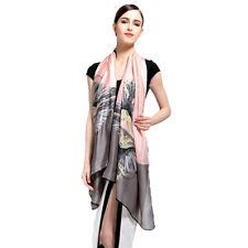 VIANOSI Women's Pink & Grey 100% Silk Bird Printed Shawl Scarf NWT New