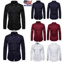 Men Cargo Work Long Sleeve Casual Dress Shirts Military Army Button T-shirt Tops