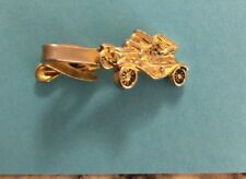 VINTAGE  Gold Tone Fold Model T Classic Car Tie Bar or Clasp Signed PIONEER