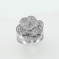 Ellani Cubic Zirconia Flower Ring, Sterling Silver