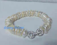 "7.5-8"" Charming AAA 12mm south sea white coin baroque pearl bracelet 925 silver"