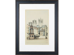 EARLY 20THC Coloured Etching  - 'Wells Cathedral, Somerset' by Edward Sharland
