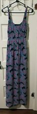 I Heart Ronson Maxi LONG Dress XS Extra Small Black Pink Floral Side Zip Pockets