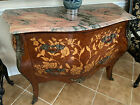 48' Vintage Louis XV French Style Marble Top Marquetry Bombe Commode