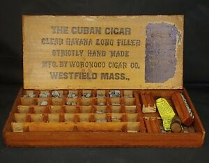 VINTAGE Rubber Printing Letters Kit in C*BAN CIGAR BOX, Woronco Co, Westfield MA