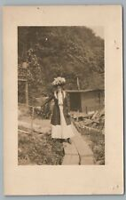 """Shack—For Sale"" Woman in Fancy Hat RPPC Antique American Photo VELOX 1910s"