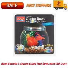 Aqua Culture 1-Gallon Globe Fish Bowl With LED Light, Crystal-Clear, 7 LED Light