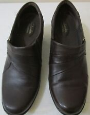 Clark's Ingalls Divine Brown Leather Size 9M Slip On Shoes Booties Bendables NIB