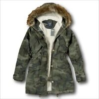 NWT Abercrombie&Fitch by Hollister Women's Sherpa-Lined Twill Parka Jacket Coat