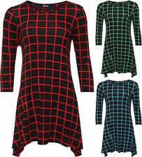 Plus Size Checked 3/4 Sleeve Dresses for Women