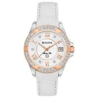 Bulova Women's Quartz Marine Star Diamond Accent White Leather 32mm Watch 98R233