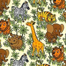 ZOO JUNGLE ANIMALS Fabric Fat Quarter Cotton Craft QuiltingTiger Zebra Elephant