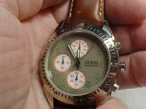 NICE USED MANS GUESS BRAND CHRONOGRAPH WATCH GRAY DIAL BROWN BAND NICE RUNS GREA