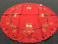 """Red Poinsettia Candle Christmas Embroidered Embroidery 33"""" Round Tablecloth"""