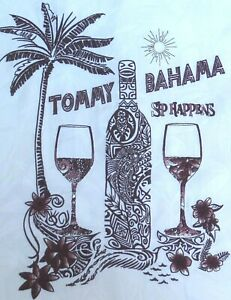 """❤TOMMY BAHAMA MENS sz XL """"SIP HAPPEN"""" EMBROIDERED 100% SILK S/S SHIRT~ 52"""" CHEST"""