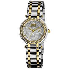 Women's Burgi BUR078TT Two-tone Stainless Steel Pave Pattern Diamond Dial Watch
