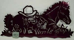 """Lazart - Sleeping Cowgirl with Horse - 20"""" Metal Decorative Hanging Wall Art"""