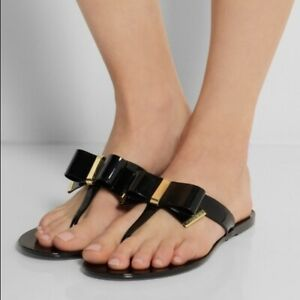 MICHAEL KORS KAYDEN JELLY THONG SANDAL GOLD & BLACK BRAND NEW WITHOUT BOX