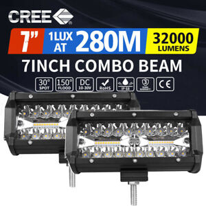 2X 7inch 1200W LED Light Bar Spot Flood Combo Work Driving Light OffRoad 4WD SUV