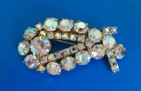 Vintage AB Rhinestone Abstract Figural Brooch Jewelry Flower Pin